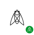 Cicada insect black outline icon Line style fly vector image