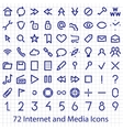 Internet and Media user interface icons set vector image