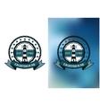 Lighthouse marine round emblem or badge vector image