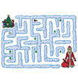 maze Santa Claus and New Year vector image