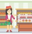 Woman refusing junk food vector image