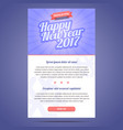 Happy New Year 2017 email template vector image