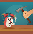 angry alarm character man try broken clock vector image