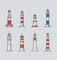 set of different lighthouse colorful vector image