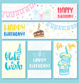 postcards and banners happy birthday vector image