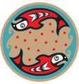 spawning salmon - native american style vector image vector image