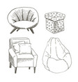 a set of different types of the chairs and vector image