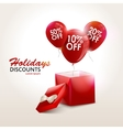 Balloons With Sale Discounts and with box vector image