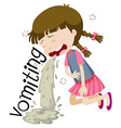 Girl vomiting and feeling sick vector image