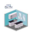 isometric floor plan of kitchen with worktop and vector image