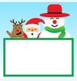 merry christmas - three friends and white board vector image