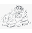 The boy became ill and was lying in bed vector image