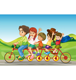 Cartoon Family Bicycle vector image