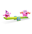 Two pink monsters playing with the seesaw vector image vector image