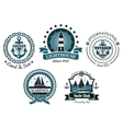 Vintage marine in blue and white emblems and vector image vector image