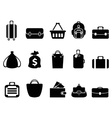 black bag icons set vector image vector image