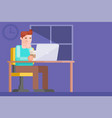 a freelancer man works for a computer at night vector image