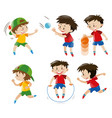 boy playing with ball and jumping rope vector image