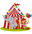 Cartoon cute elephant and clown with circus tent vector image