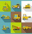 construction vehicles icons set flat style vector image