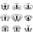 Set of nine butterflies for design vector image