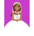 african american bride holding bouquet of roses vector image
