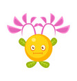 cute fantastic yellow plant character round shape vector image vector image