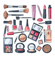 Makeup products for women colored hand drawn vector image
