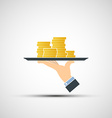 Hand holding a tray with money vector image