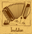 Invitation with folk musical instruments vector image