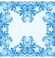 Blue greeting card template with floral pattern in vector image