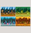 cartoon game cave landscapes set vector image