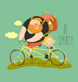 father and his daughter ride tandem bike vector image