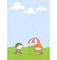 kids in the rain cartoon vector image