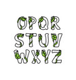 leaves font part 2 vector image
