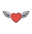 love heart wings fly tattoo free symbol vector image