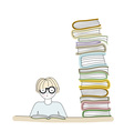 Student wearing glasses and reading a book vector image