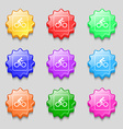 Cyclist icon sign symbol on nine wavy colourful vector image