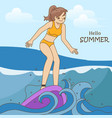 pretty girl catching waves surfing vector image