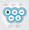 shipment icons set collection of bicycle railway vector image
