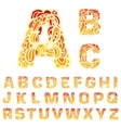 Fire set font alphabet text on a red background vector image