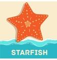 retro flat starfish icon concept design vector image