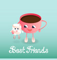 a cup of coffee and a marshmallow friendship day vector image