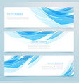 abstract light blue banners set design vector image