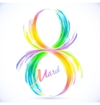 Abstract rainbow splashes 8 march greeting card vector image
