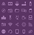 Hi tech line icons on violet background vector image