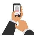Scanning fingerprint on phone vector image