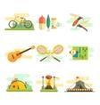 Tourist Summer Equipment Flat Set vector image