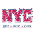 T shirt typography graphic New York chic hearts vector image