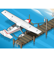 Isometric Seaplane Moored at the Pier in Rear View vector image vector image